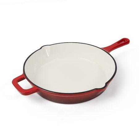 厚铸铁红珐琅圆煎盘主图4