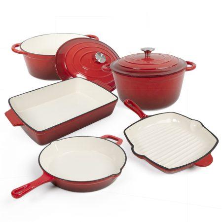 Cast iron enameled cookerware set